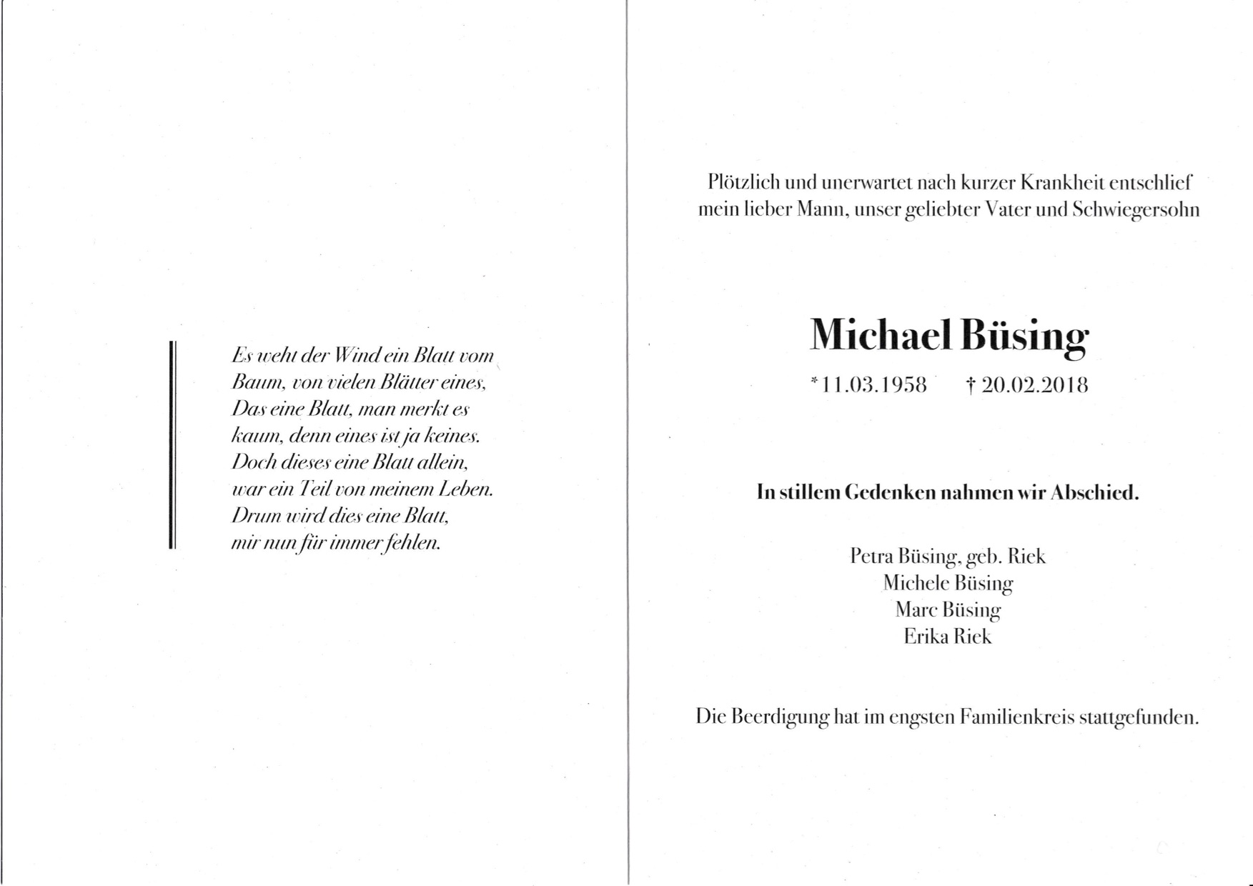 Michael Büsing ist nicht mehr
